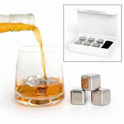 Stainless Steel Ice Cubes Metal Stones Cocktail Whisky Reusable Rocks - Set of 6