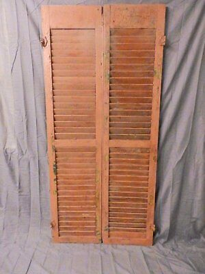 Pair Vintage House Window Wood Louvered Shutters 67x16 Shabby Old Chic 654-17P