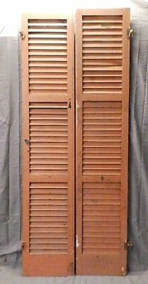 Pair Vintage House Window Wood Louvered Shutters Shabby Old Chic 79x16 655-17P