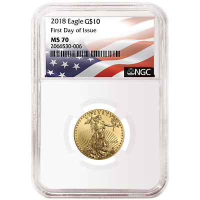 2018 $10 American Gold Eagle 1/4 oz. NGC MS70 FDI Flag Label