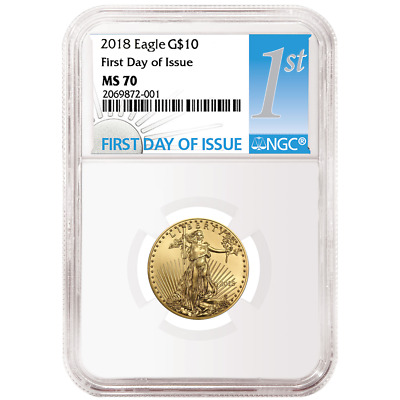 2018 $10 American Gold Eagle 1/4 oz. NGC MS70 FDI First Label