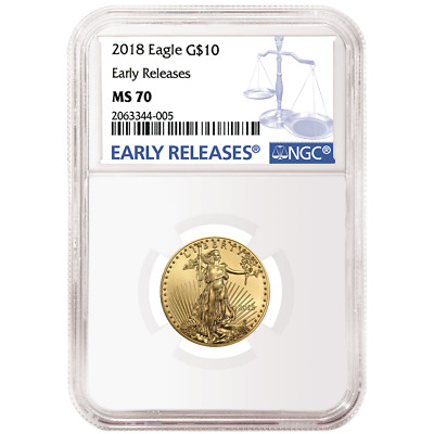 2018 $10 American Gold Eagle 1/4 oz. NGC MS70 Blue ER Label