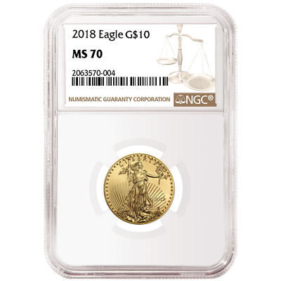 2018 $10 American Gold Eagle 1/4 oz. NGC MS70 Brown Label