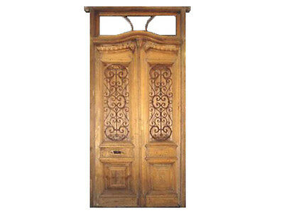Double Wooden Entry Door w/ Wrought Iron Railings #1351