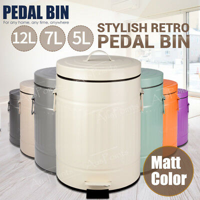 5L 7L 12L Matt Stainless Steel Pedal Bin Rubbish Bins Can Waste Kitchen Trash