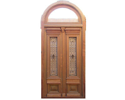 Arched Double Entrance Door With Iron Insert #X1383