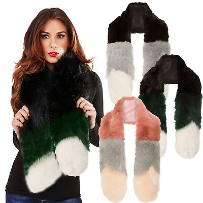 Franz & Lily Womens Faux Fur Round Edge Muffler Ladies Luxury 3 Toned Soft Scarf