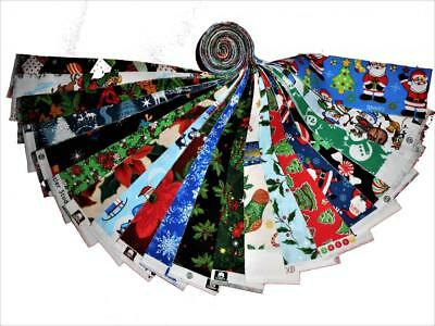 20 25 Christmas Quilting Fabric Jelly Roll Strips 20 Different