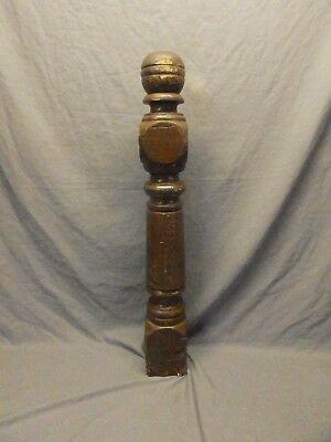 Antique Decorative Turned Wood Pine Newel Post Old Vtg Staircase 42x7 661-17P