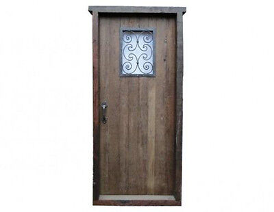 Antique Single Front Door with Wrought Iron Inserts #D1037