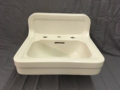 Antique White Ceramic Porcelain Wall Mount Bath Sink Crane Trenton Vtg 803-17E