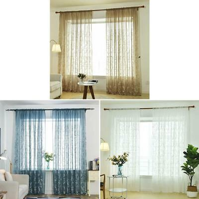Tulle Flowers Embroidery Voile Window Panel Drape Curtain Living Room Decoration