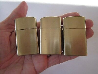 3X Vintage 1970's Ldl Supreme Slim Windproof Gold Tone Lighters W/boxes & Papers