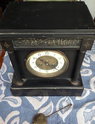 Victorian Black Slate Mantle Clock 8 Day China Face Restoration Project