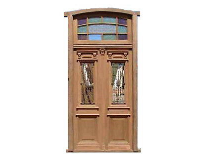 Double Entrance Door w/ Stained Textured Glass Transom #B1710
