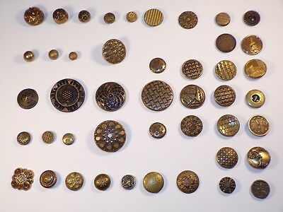 Lot of Antique Victorian Brass Metal Buttons Patterns Clock / Watch