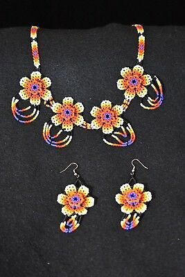 Mexican Huichol Amazing Handmade Necklace + Earrings High Quality Uniqe Jewelry
