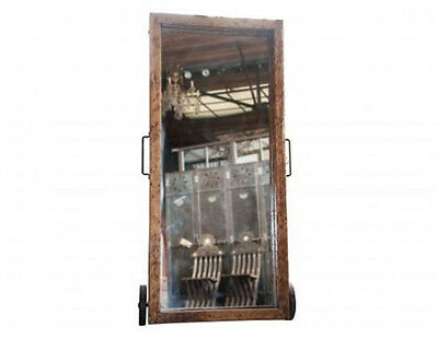 Antique Wood Framed Mirror with Wheels & Wrought Iron Stand #A3029