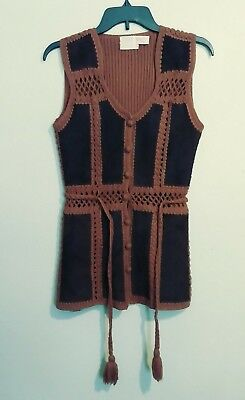 Vintage VEST 60s 70s Hippie SUEDE LEATHER Crochet TARRIE Rock N Roll costume vtg