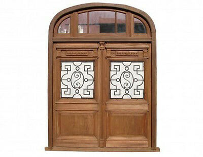 Antique Double Entry Door Half Round Top Transom #B1539