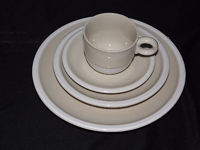 Epoch Whipped Cream, Beige 4 Piece Place Setting Indented Saucers Jepcor Int'l