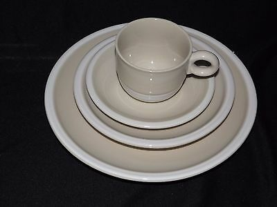 Epoch Whipped Cream, Beige 4 Piece Place Setting Raised Saucers Jepcor Int'l