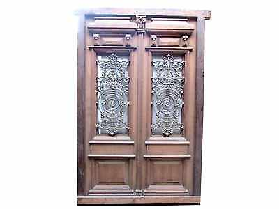 Antique Double Entry Door w/ Cast Iron Insert #1919