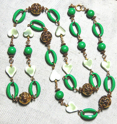 Vintage Art Deco Old Green Plastic With Gold Tone Beads Long Necklace