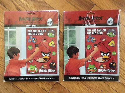 NEW LOT OF 2 ANGRY BIRDS PARTY GAMES, PUT THE TAIL ON THE RED BIRDS (both new)