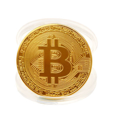 Gold Bitcoin Commemorative Round Collectors Coin Bit Coin Gold Plated Coins Gift