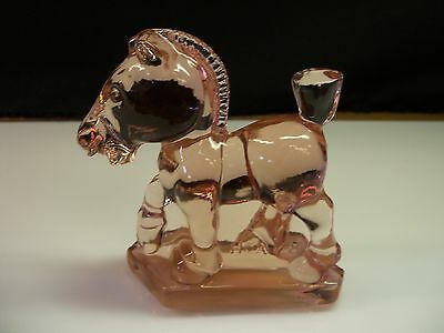 Heisey Glass By Imperial Pink OSCAR SPARKY Plug Horse HCA 1978 Item 3119