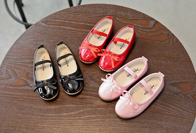 Kids Toddler Girls School Child Flat Bowknots Princess Wedding Party Dress Shoes
