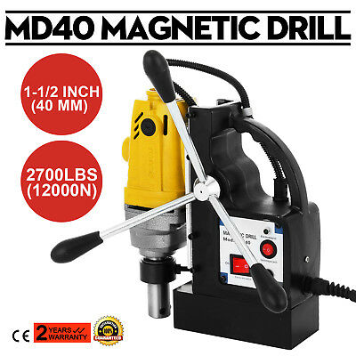 "1100W MD40 Magnetic Drill Press 1-1/2"" Boring 2700 LBS Magnet Force High-Speed"