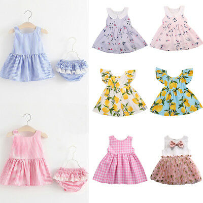 Infant Baby Girls Kids Party Pegeant Tutlle Dress Summer Floral Tutu Dresses