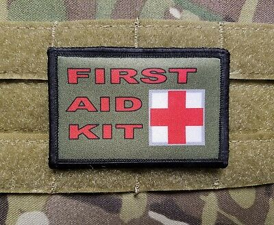 FIRST AID KIT OD Green 2x3 Tactical Hook Military Morale Patch IFAK Kit Marker