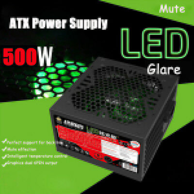 Blue LED 500W Quiet 12cm Fan 20/24pin ATX 12V Gaming Computer PC Power Supply