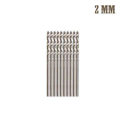 10Pcs 2mm M35 Triangle Shank HSS-Co Cobalt Twist Drill Spiral Drill Bit