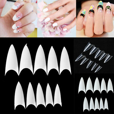 500Pcs Clear Natural White Stiletto Point French Acrylic UV Gel False Nail Tips