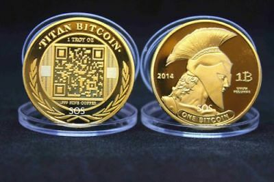 BITCOINS!! Gold Plated .999 fine copper Titan novelty Physical Bitcoin Coin!!