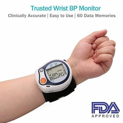 Wrist Blood Pressure Cuff Monitor Machine with Portable Case for Home Use FDA