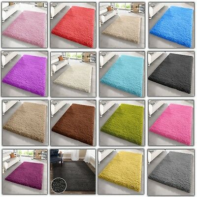Large Shaggy Rug Small Xl Extra Thick High Pile Plain Non-Shed Modern Rugs Size