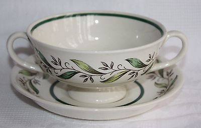 Royal Doulton Almond Willow Double Handled Soup Cup with Deep Saucer