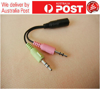Smartphone Headset To Pc/laptop Adapter  3.5Mm Female To 2 Male Cable