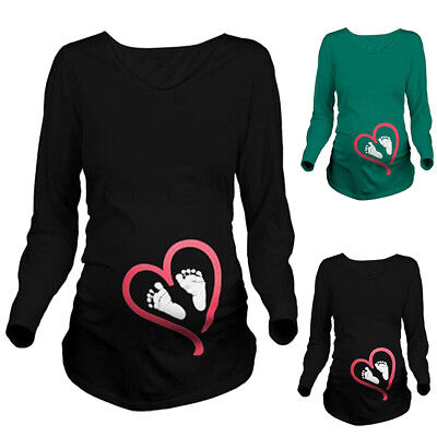 Ladies Maternity Long Sleeve Baby Foot Printed T-Shirt Pregnant Clothes Tops