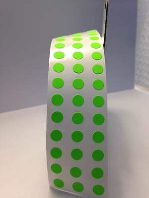 "LIME GREEN 1/4"" (6mm) SELFADHESIVE Round Collor Inventory Labels Dots Stickers"