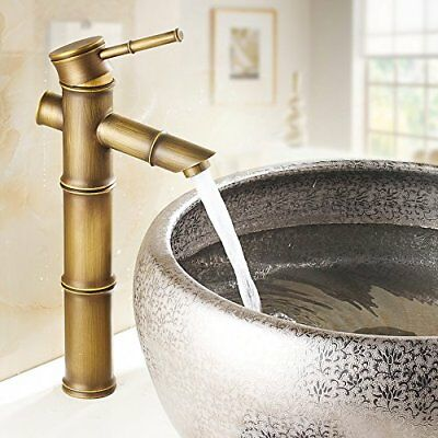 Aquafaucet Antique Brass Bamboo Shape Bathroom Sink Vessel Faucet Basin Mixer