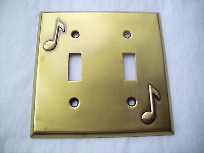 Light Switch Plate Cover  Brass Double Toggle -MUSIC NOTE  DESIGN