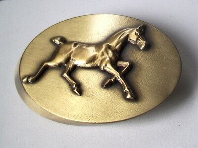 Solid Brass Oval Paperweight Weight with a TROTTING HORSE ANIMAL design accent