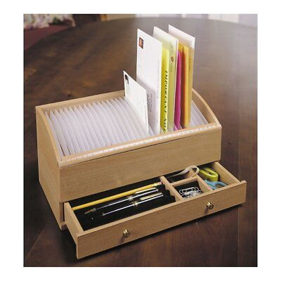 Natural Wood Space Saver Letter and Bill Organizer with Compartments Drawer and
