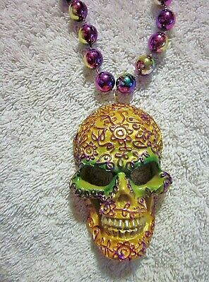 "MEXICAN ""DAY of the DEAD SUGAR SKULL MASK"" MARDI GRAS BEAD HALLOWEEN (B893)"